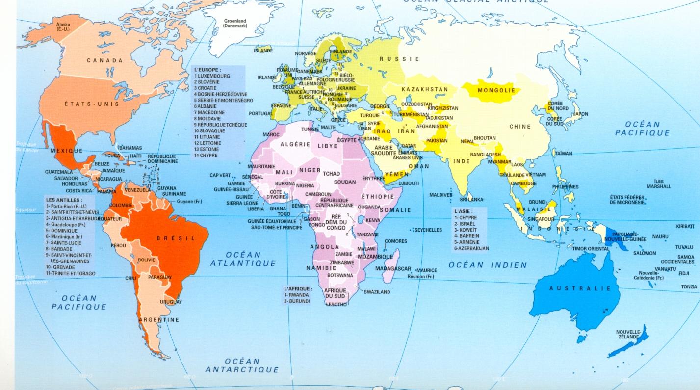 Planisphere pour imprimer et reviser les continents oceans for Habitat du monde